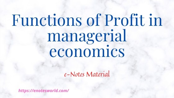 Functions of Profit in Managerial Economics
