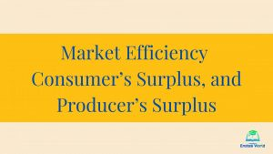 Market Efficiency, Consumer's Surplus, and Producer's Surplus